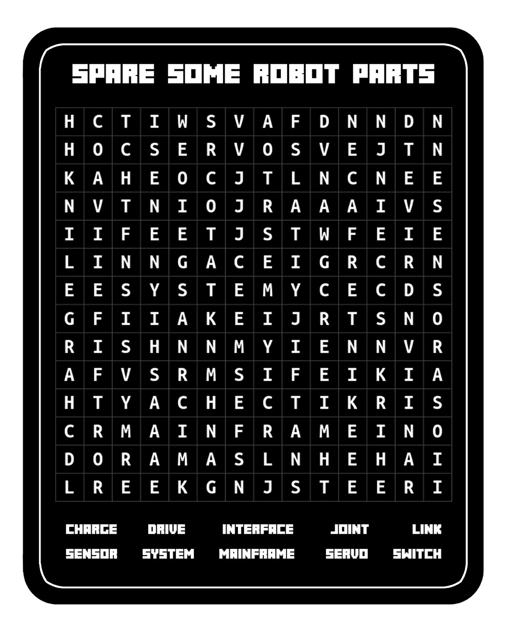 Spare Some Robot Parts Word Search